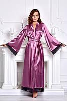 Роскошный атласный халат в пол Фрез. Размеры от XS до XХХL