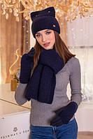 Комплект шапка з вушками, рукавички і шарф в 5 кольорах 4390-15