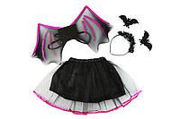 """Карнавальный детский костюм """"Летучая мышь"""" черный с розовым  - карнавальный костюм для девочки"""