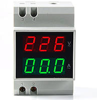 Вольтметр-амперметр D52-2042 AC переменного тока на дин рейку 80-300 В ток 0-100 со встроенным трансформатором тока, фото 1