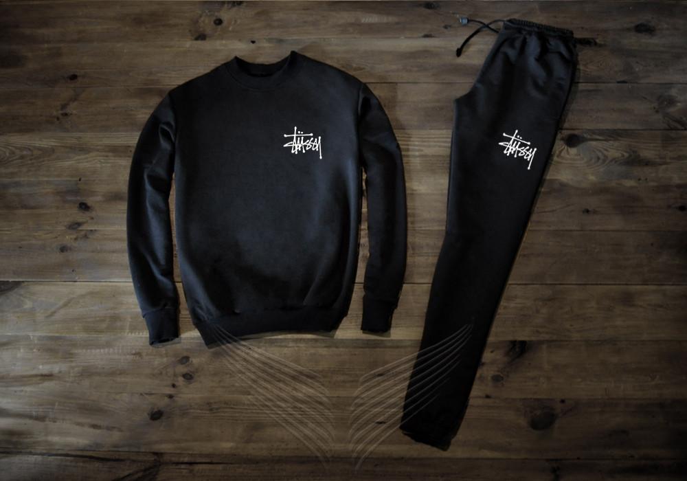 Спортивний костюм чоловічий Stuccy Стьюси чорний (репліка)