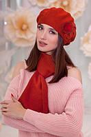 Комплект берет и шарф с декором в 8ми цветах 6001-10, фото 1
