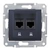 Розетка компьютерная двойная Черный Schneider Sedna (sdn4400170)