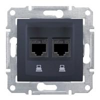 Розетка компьютерная двойная Черный Schneider Sedna (sdn4400170), фото 1