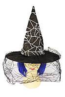 Черная шляпа ведьмы с вуалью и принтом паутины - аксессуар для вашего образа