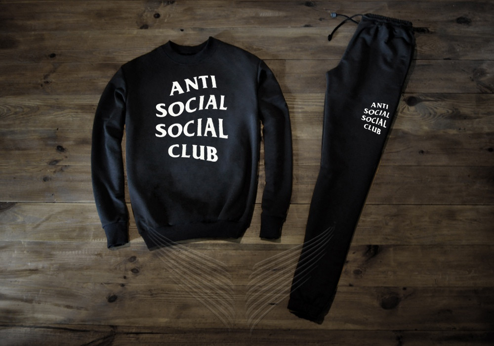 Спортивный костюм мужской Anti Social Club Анти Сошл Клаб с большим логотипом (реплика)