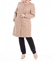 Пальто женское бежевое на подкладке с карманами за колено большого размера