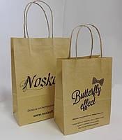 Пакеты с логотипом 150*90*200 мм коричневый с ручкой., фото 1