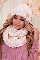 Комплект великої в'язки шапка і шарф-вісімка в 13 кольорах 4619-8