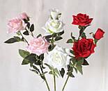 Искусственная роза раскрытая , 3 цветка , фото 8