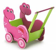 Bayer Chic - Деревянная колясочка Dino, цвет розово-зеленый