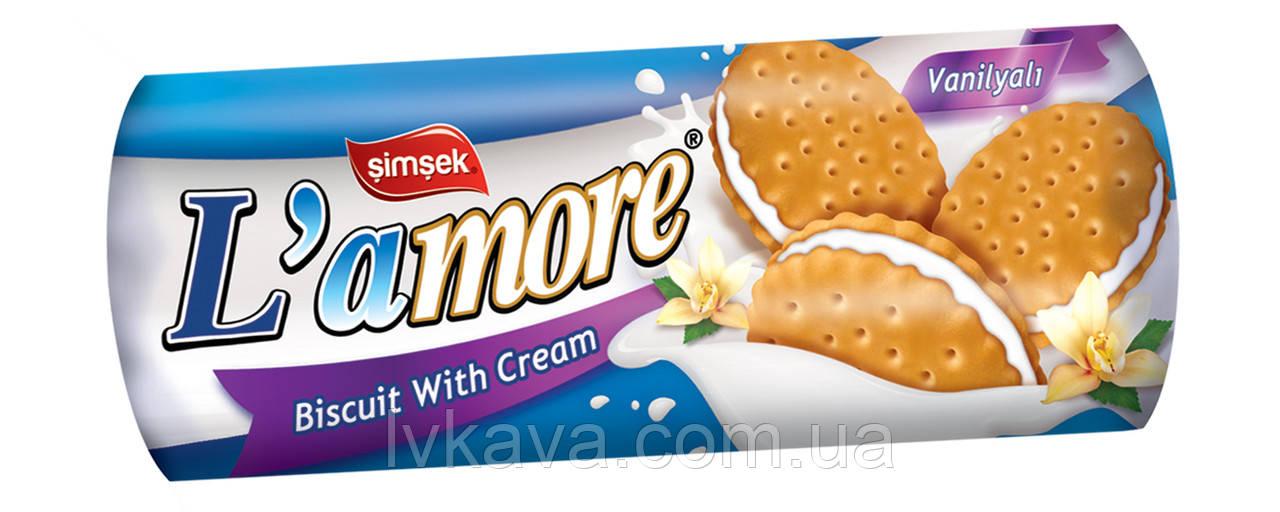 """Печенье - сендвич L"""" amore с ванильным вкусом  Simsek , 150 гр"""