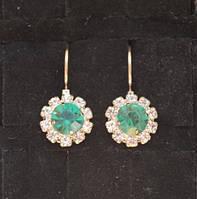 Серьги с зеленым камнем, бижутерия, фото 1
