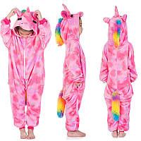 Кигуруми пижама Розовый Единорог на молнии микрофибра (велсофт) детский
