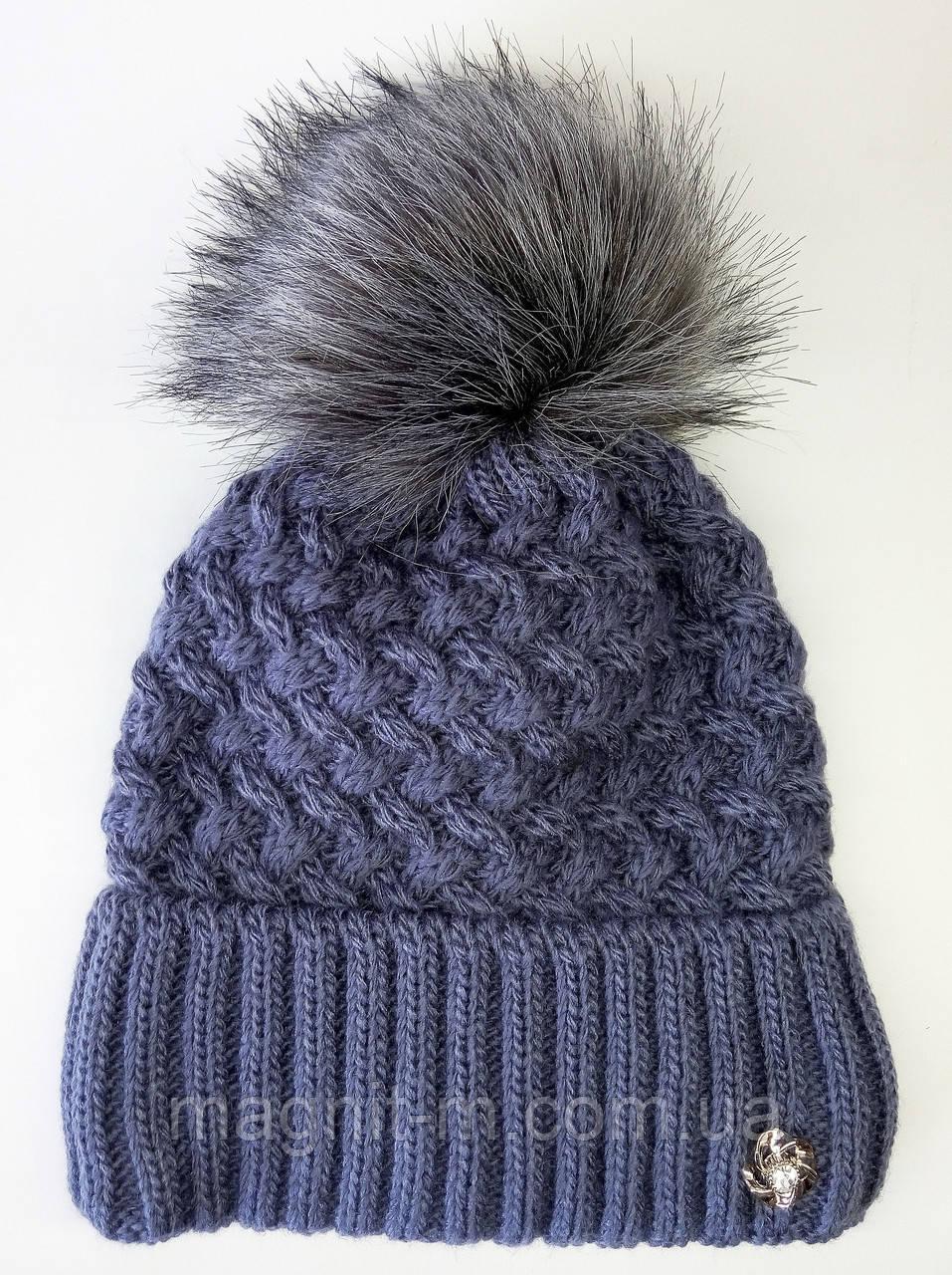 Женская зимняя шапка. Меховой бубон. Флисовая подкладка. Джинс.