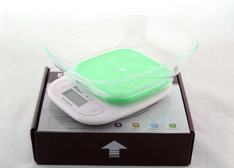 Весы кухонные Domotec ACS SH-125 до 7 кг с чашей и подсветкой, Зеленые