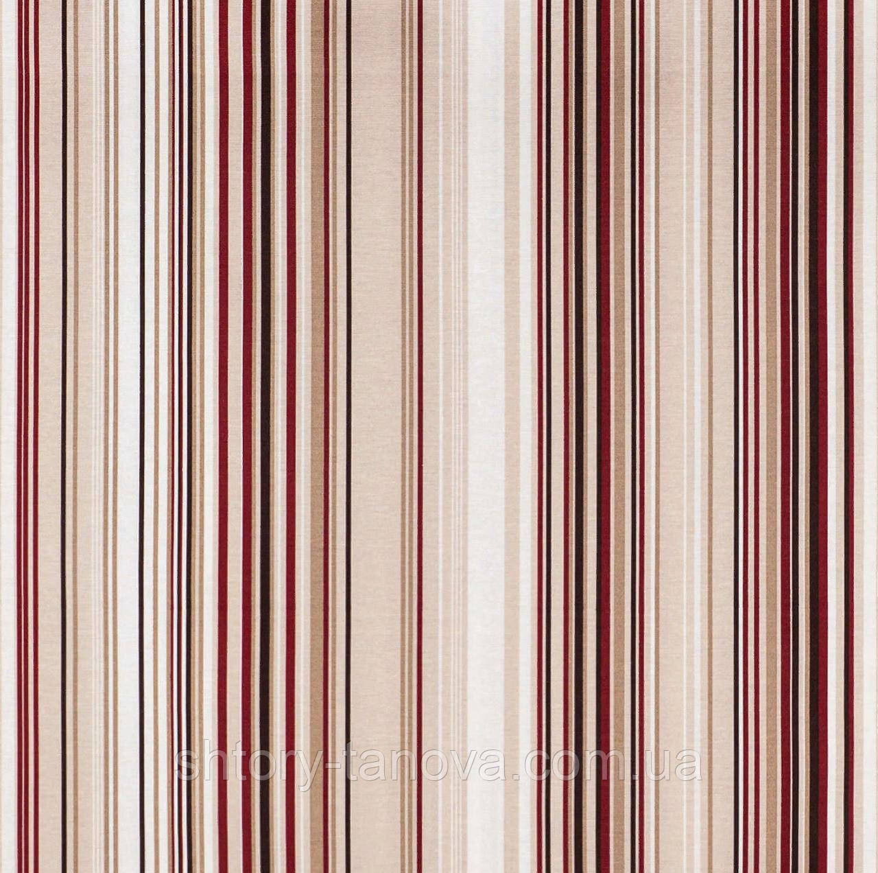 Тканина для штор в стилі прованс в коричнево-червону смугу
