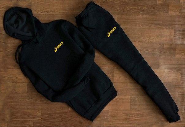 Спортивный костюм с капюшоном мужской Asics черный с жёлтой надписью (реплика)