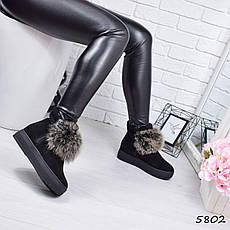 """Ботинки черные, на танкетке ЗИМА """"Marge"""" НАТУРАЛЬНАЯ ЗАМША, повседневная, зимняя, теплая, женская обувь, фото 2"""