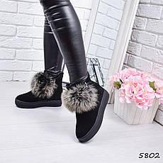 """Ботинки черные, на танкетке ЗИМА """"Marge"""" НАТУРАЛЬНАЯ ЗАМША, повседневная, зимняя, теплая, женская обувь, фото 3"""