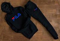 Спортивний костюм з капюшоном чоловічий Fila Філа чорний з синім написом (репліка)