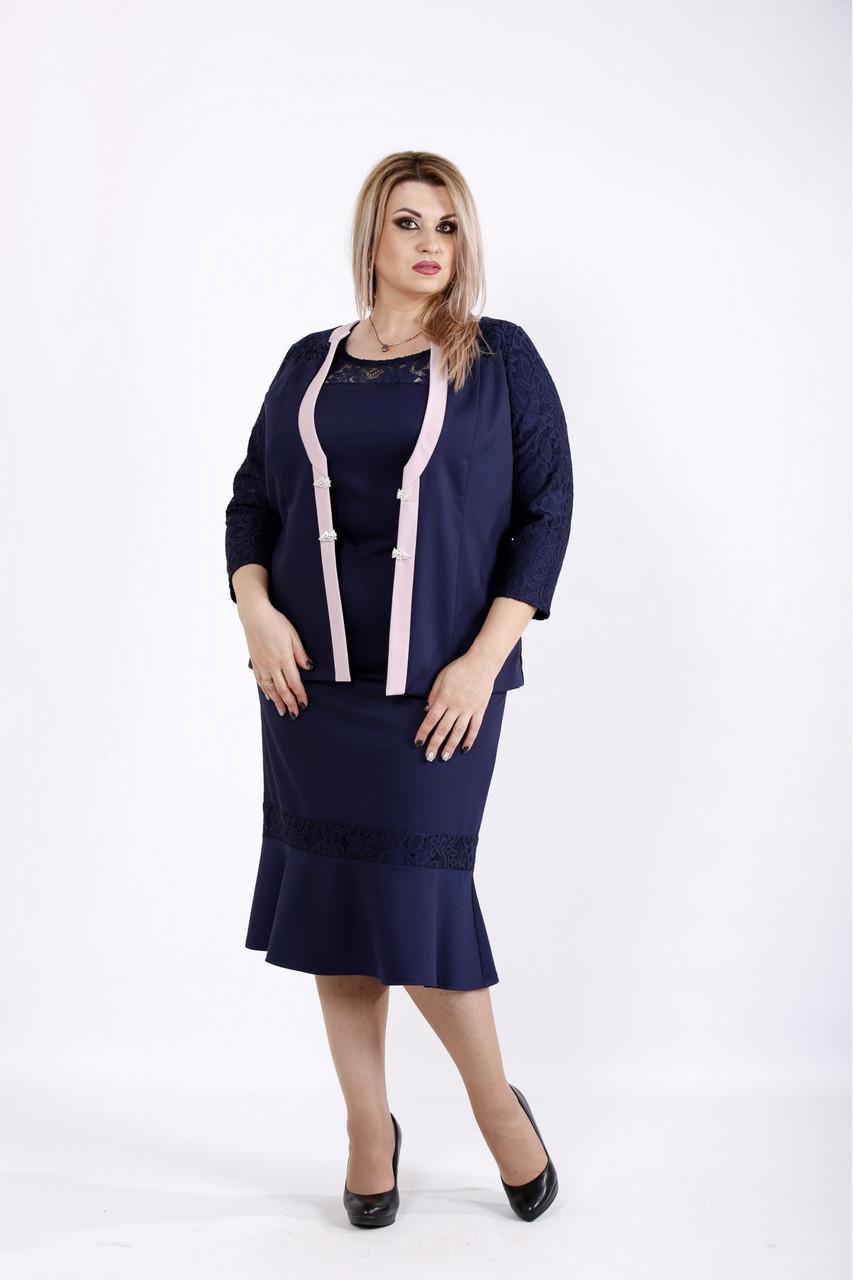 Синий женский костюм больших размеров 54-74 размер