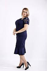 Синий женский костюм больших размеров 54-74 размер, фото 2