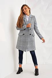 Стильное пальто в клетку 2455
