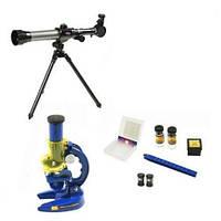 Набор юного исследователя с2112, микроскоп + телескоп, штатив-тренога, предметные стекла, пинцет, 2 колбы