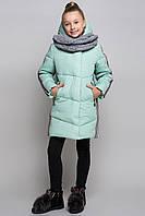 Зимняя куртка для подростка в комплекте с вязаным снудом ZKD-7