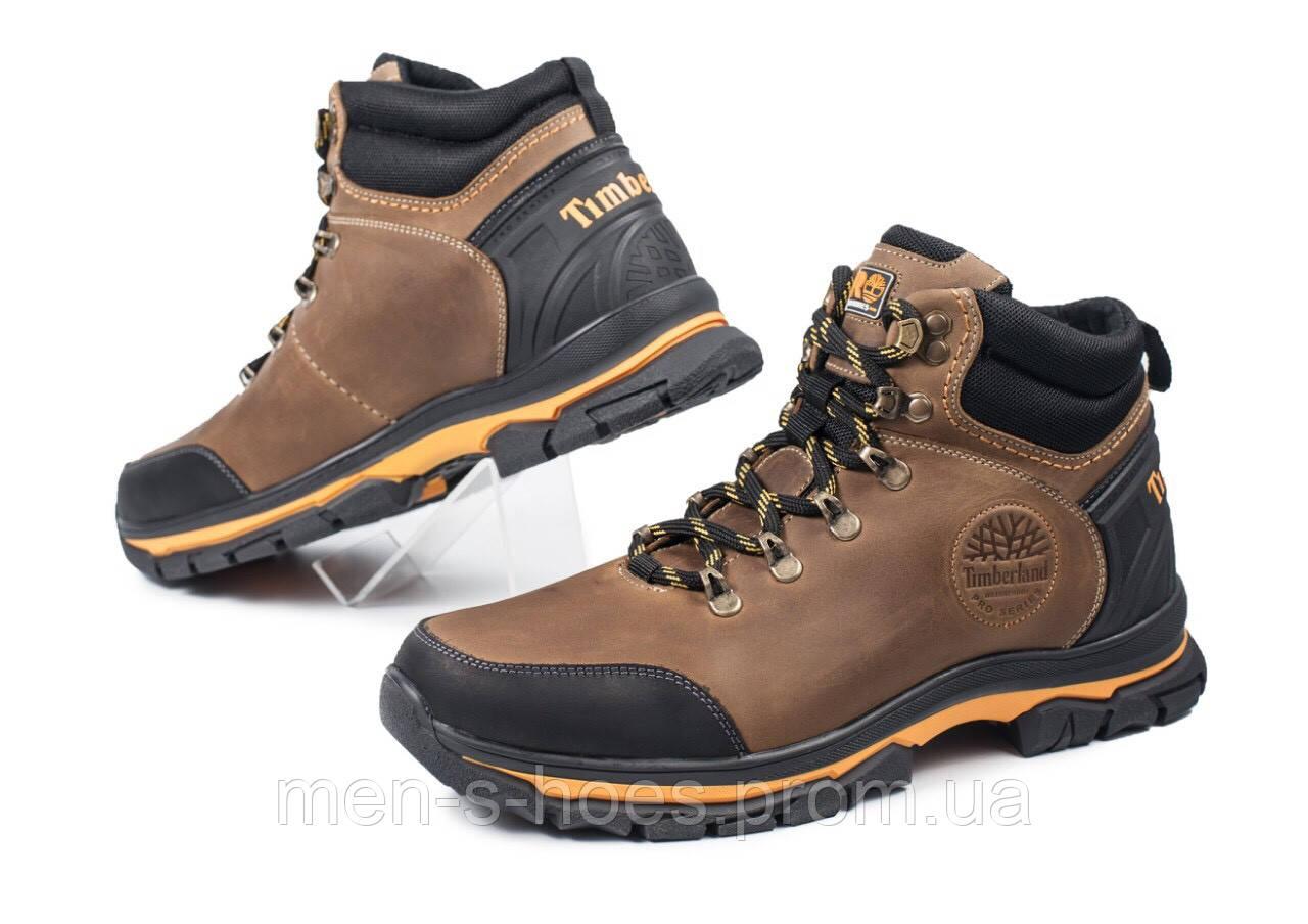 Кожаные  мужские зимние спортивные ботинки Andante олива