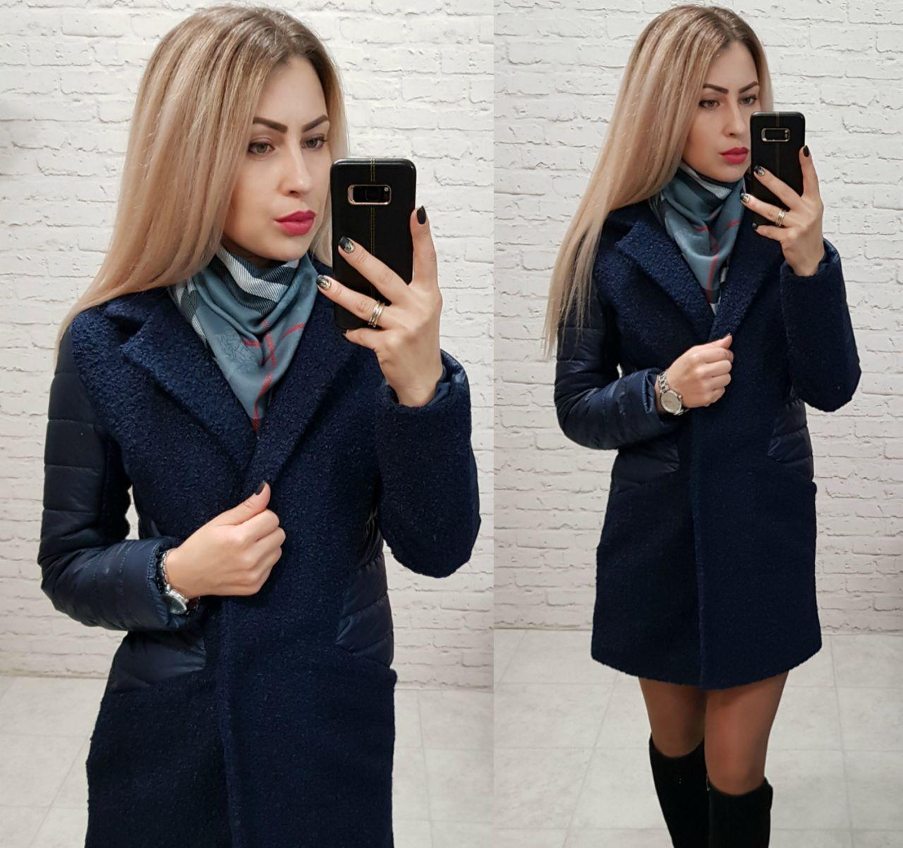 Пальто, арт 821, ткань букле, цвет темно синий