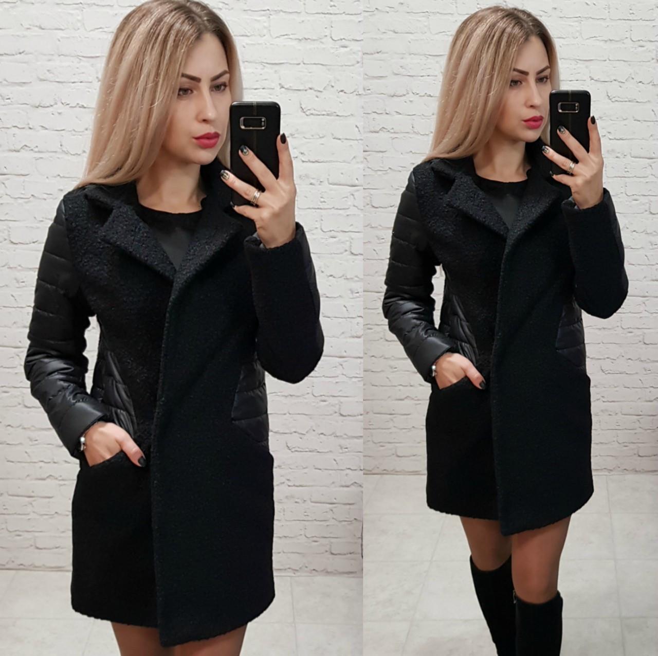 Пальто, арт 821, ткань букле, цвет черный
