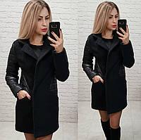 Пальто, арт 821, ткань букле, цвет черный, фото 1