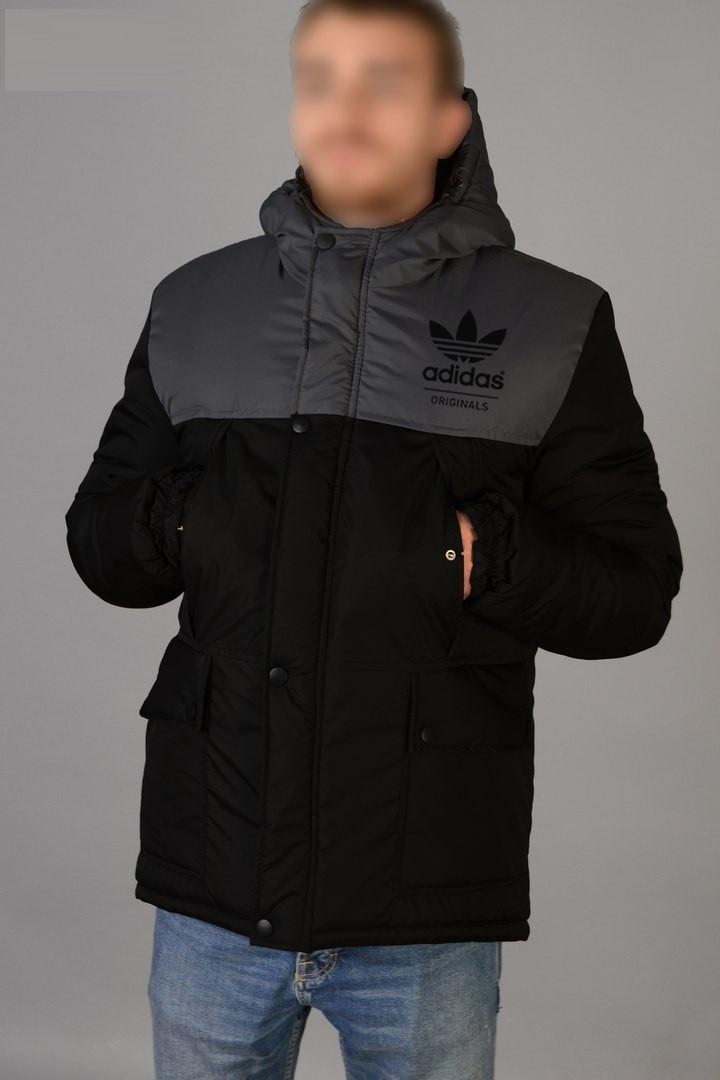 9f80942f5e8 Зимняя Мужская Теплая Куртка-Парка Adidas Originals Мужские Черные Куртки  Зимние Адидас
