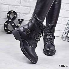 """Ботинки, ботильоны черные ЗИМА """"Dark"""" эко кожа, повседневная, зимняя, теплая, женская обувь, фото 2"""