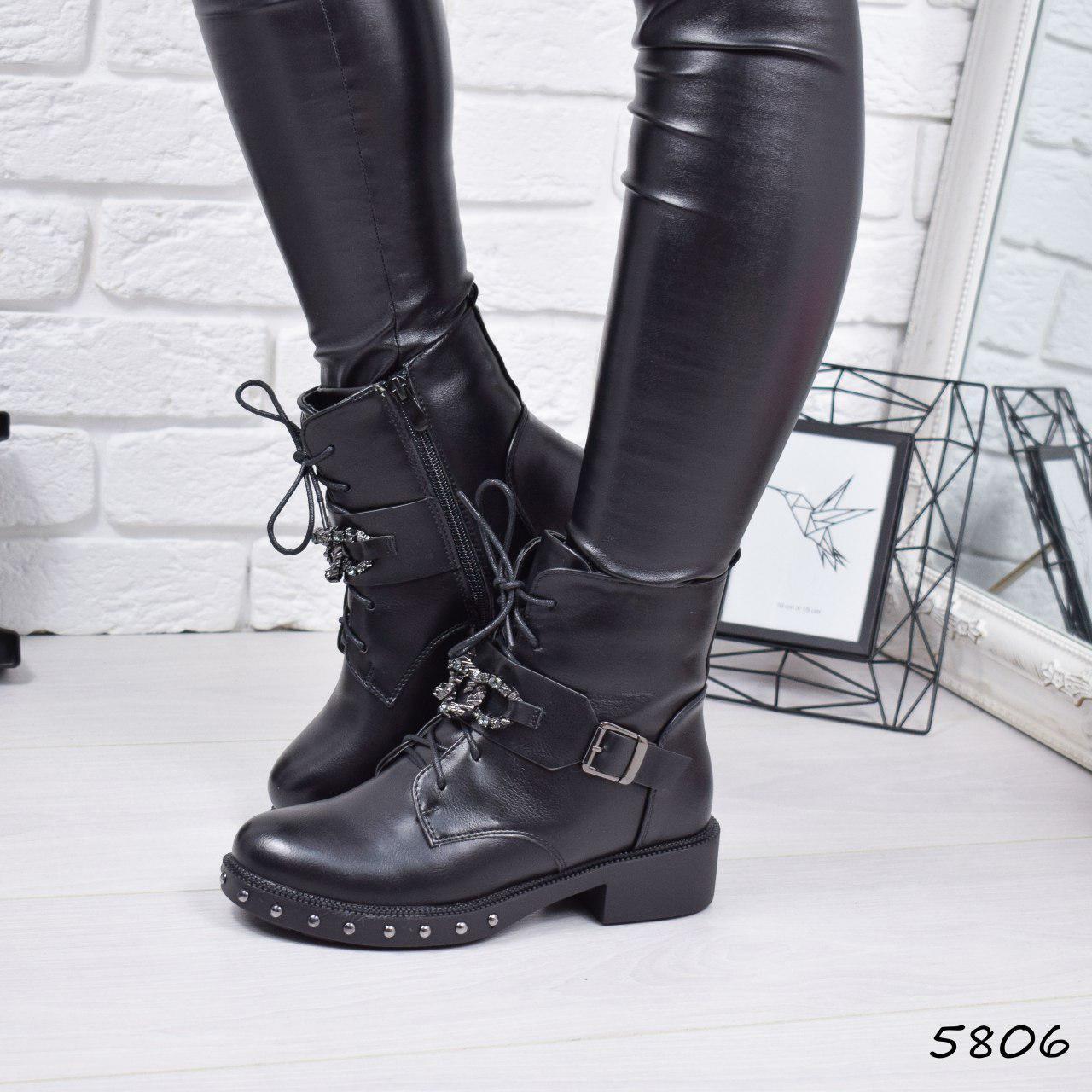 """Ботинки, ботильоны черные ЗИМА """"Dark"""" эко кожа, повседневная, зимняя, теплая, женская обувь"""