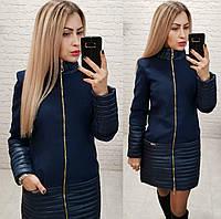 Пальто, арт 137, ткань кашемир + плащевка, цвет темно синий, фото 1