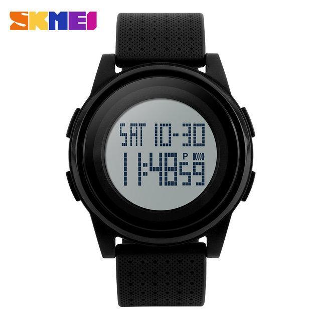 Skmei 1206 Ultra New Черные с Белым циферблатом мужские спортивные часы