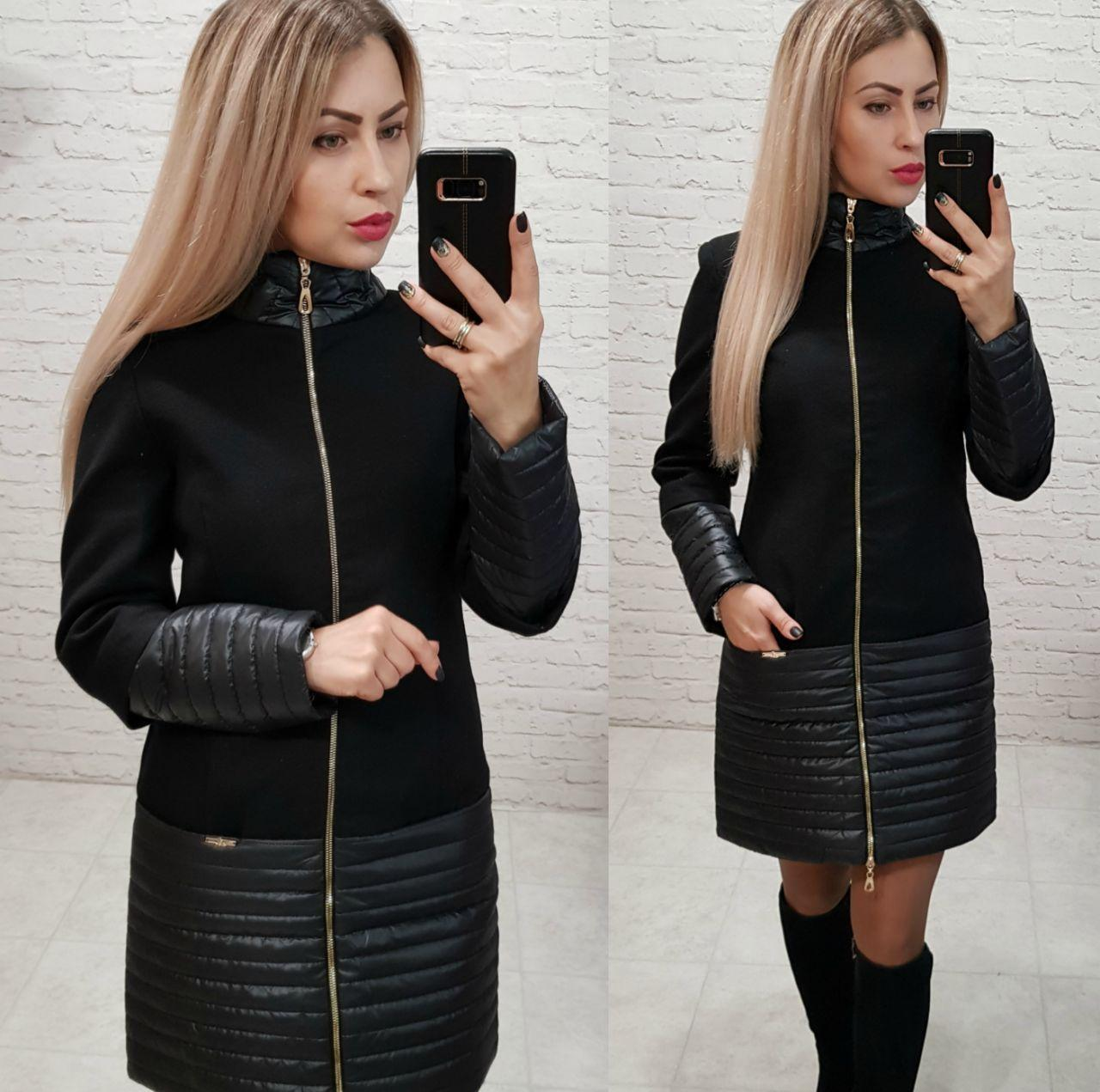 Пальто, арт 137, ткань кашемир + плащевка, цвет черный