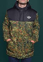 Зимняя Мужская Теплая Куртка-Парка Adidas Originals Куртки Зеленые Хаки Зимние Очень Теплые Куртки-Парки