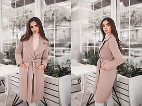 """Женское кашемировое пальто на запах """"Coalis"""" с карманами (7 цветов), фото 3"""