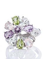 Кольцо серебряное с аметистом, хризолитом и розовым кварцем