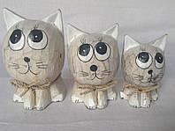 "Набор статуэток ""Котики-одуванчики"" (12, 10 и 8 см), бежевый"