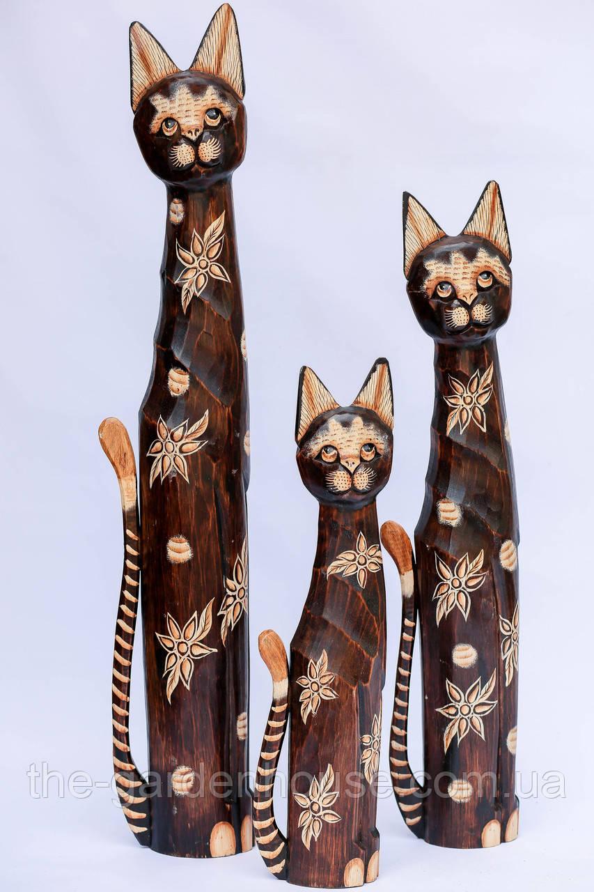 Кошка деревянная в цветочек, 80 см