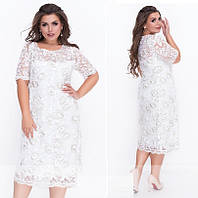 Женское вечернее платье №18-32-Молочный  (р. 52-58)