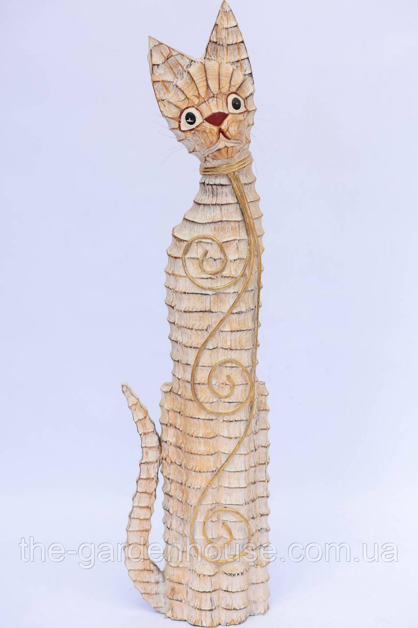 Кот белый с декором из ротанга, 80 см