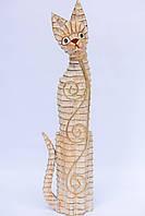Кот белый с декором из ротанга, 60 см