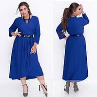 Женское стильное платье с поясом №18-04 (р. 48-54)