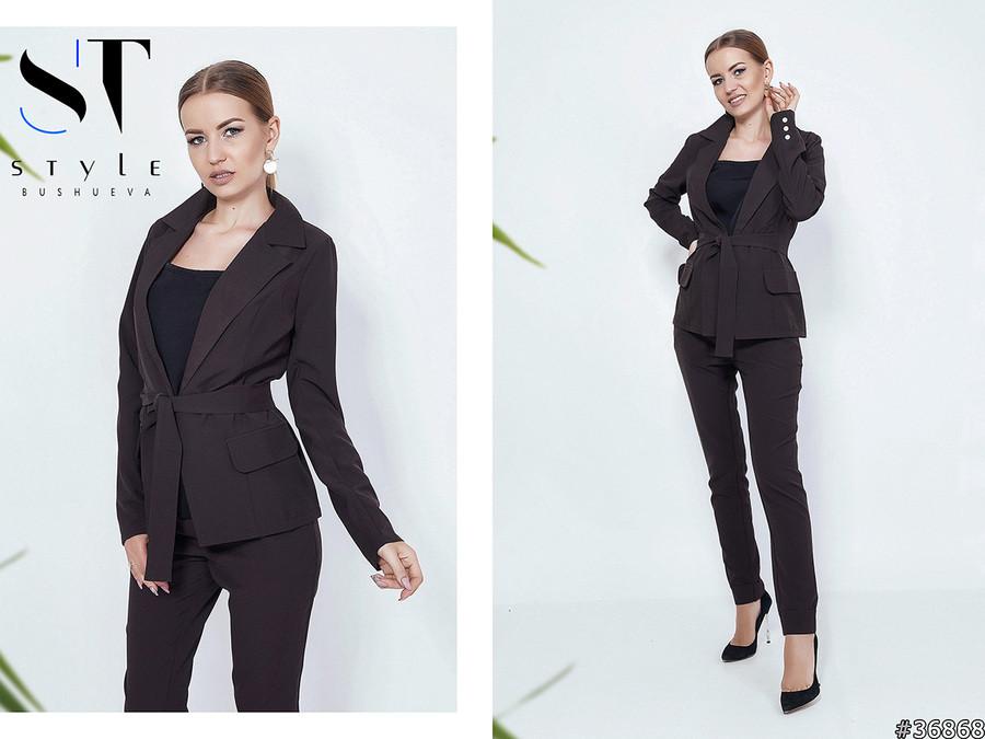 90cc284d938 Элегантный брючный костюм  пиджак без застежки и прямые брюки с отворотами  - AMONA интернет-